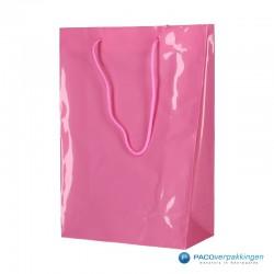Plastic draagtassen - Roze - Zijaanzicht