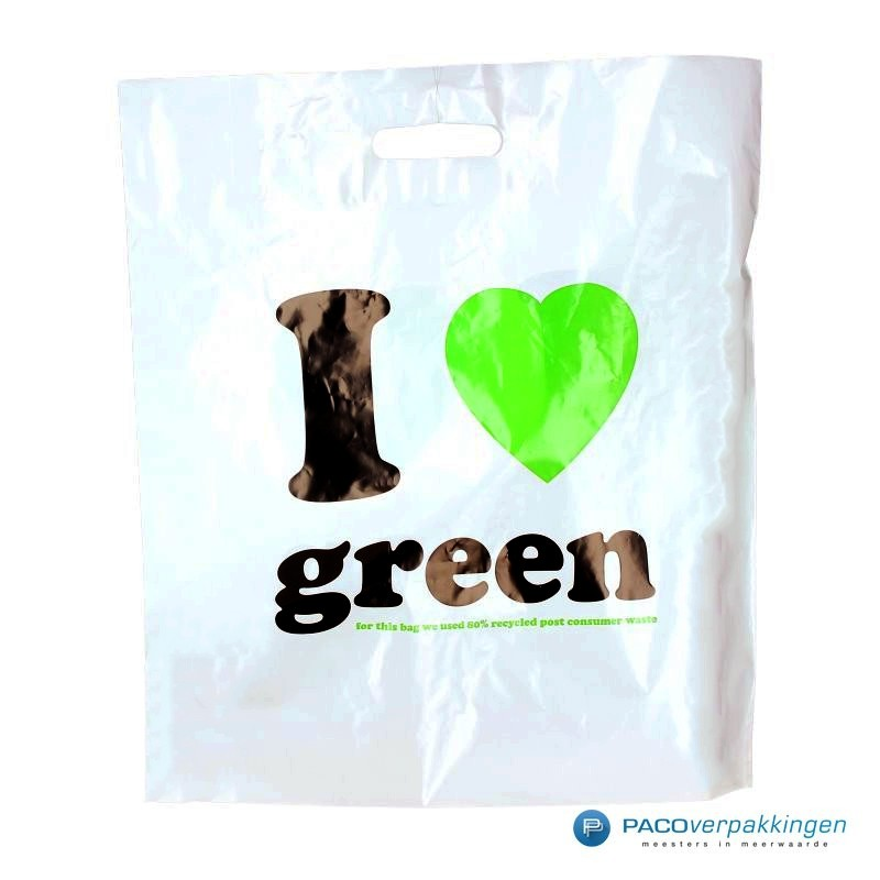 Plastic draagtassen - I LOVE GREEN - Wit - Vooraanzicht
