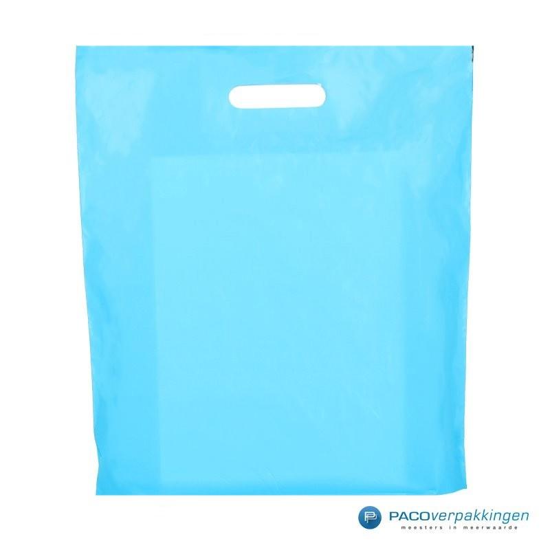 Plastic draagtassen - Lichtblauw - Vooraanzicht