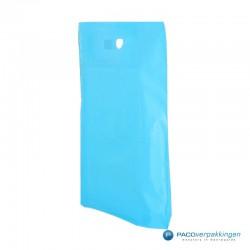 Plastic draagtassen - Lichtblauw -  Zijkant Vooraanzicht