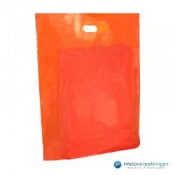 Plastic draagtassen - Oranje -  Zijkant Vooraanzicht