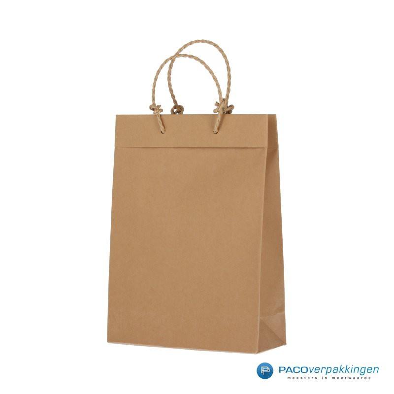 Papieren draagtassen - Bruin - Recycle - Gedraaid koord - Zijaanzicht