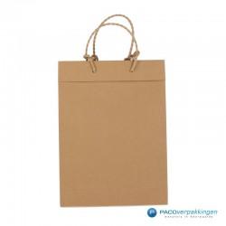 Papieren draagtassen - Bruin - Recycle - Gedraaid koord - Achteraanzicht