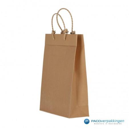 Papieren draagtassen - Bruin - Recycle - Gedraaid koord