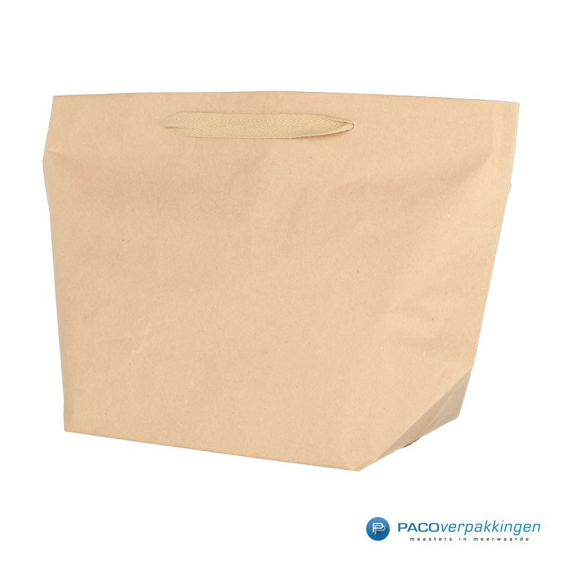 Papieren draagtassen - Bruin Kraft - Stevig - Zijaanzicht
