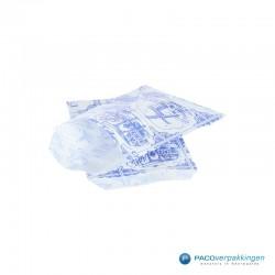 Papieren zakjes - Souvenir - Wit Blauw - Vooraanzicht formaat