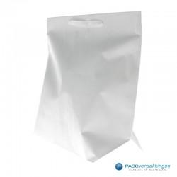 Papieren draagtassen - Wit - Stevig - Zijaanzicht