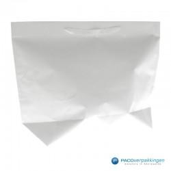 Papieren draagtassen - Wit - Stevig - Zijaanzicht achter