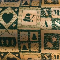 Inpakpapier Feestdagen - Xmas - Groen op goud (Nr. K8) - Close-up