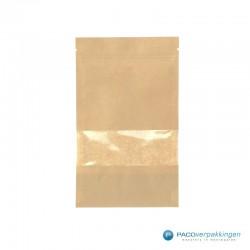 Papieren zakjes - Met venster - Bruin - Vooraanzicht