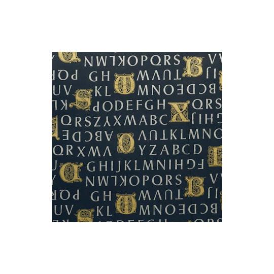 Inpakpapier - Letters - Goud op blauw (Nr. 3030)