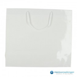 Papieren draagtassen - Wit Glans - Luxe - Katoenen koord - Vooraanzicht