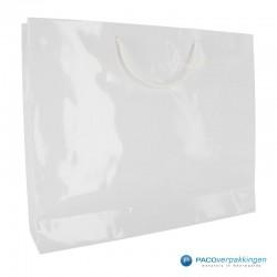 Papieren draagtassen - Wit Glans - Luxe - Katoenen koord - Zijaanzicht achter