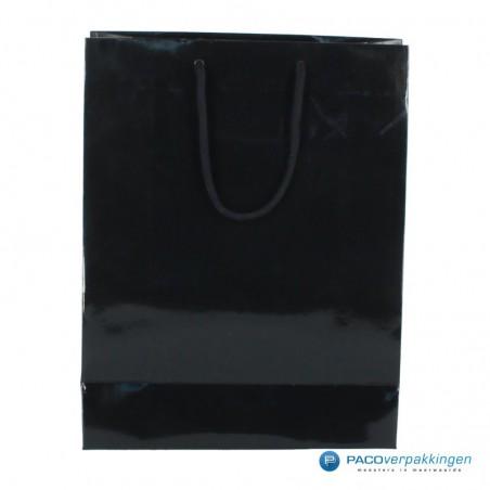 Papieren draagtassen - Zwart Glans - Luxe - Katoenen koord