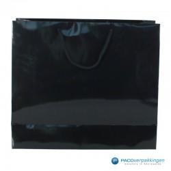 Papieren draagtassen - Zwart Glans - Luxe - Katoenen koord - Achteraanzicht