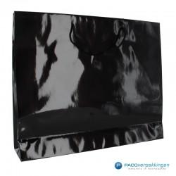 Papieren draagtassen - Zwart Glans - Luxe - Katoenen koord - Zijaanzicht achter