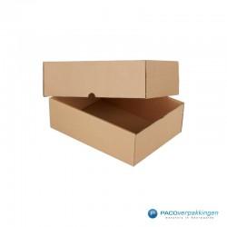 Verzenddozen A4 - Losse doos deksel - Bruin - Zijaanzicht open