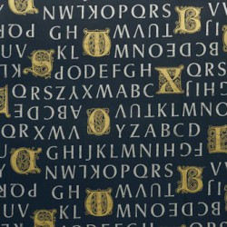 Inpakpapier - Letters - Goud op blauw (Nr. 3030) - Close-up
