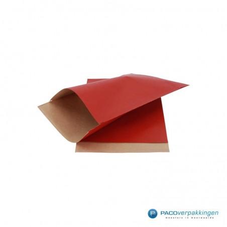 Papieren zakjes - Rood met bruin kraft (Nr. 1502)