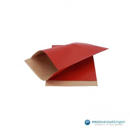 Papieren zakjes - Rood met bruin kraft (Nr. 099)