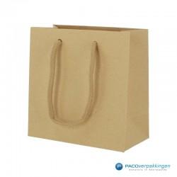 Papieren draagtassen - Bruin Kraft Mat - Luxe - Katoenen koord - Zijaanzicht voor