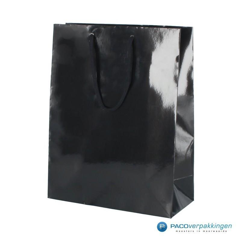 Papieren draagtassen - Zwart Glans - Luxe - Katoenen koord - Zijaanzicht voor