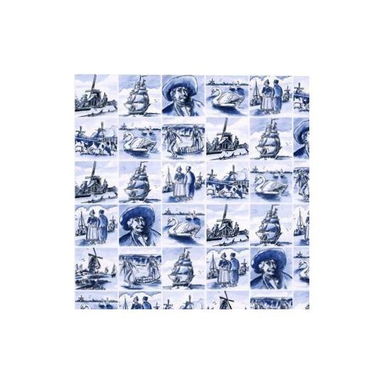 Inpakpapier - Hollands - Blauw op wit (Nr. 3032)