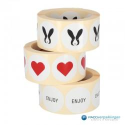Cadeau stickers - ENJOY - Zwart op wit - Amsterdam