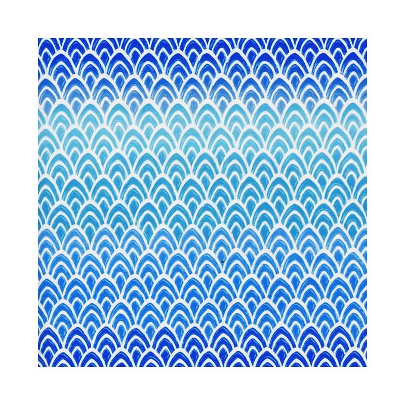 Inpakpapier - Schubben - Wit op blauw (Nr. 3006) - Close-up