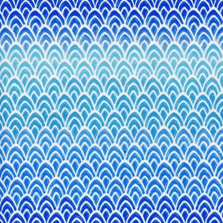 Inpakpapier - Schubben - Wit op blauw (Nr. 3006)