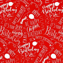 Inpakpapier - Happy Birthday - Wit op rood (Nr. 3022) - Close-up