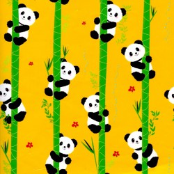 Inpakpapier - Panda - Multikleur op geel (Nr. 3026) - Close-up