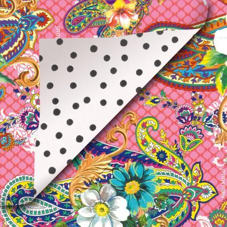 Inpakpapier - Melli Mello - Ornamenten -  Multikleur op roze (Nr. 811)