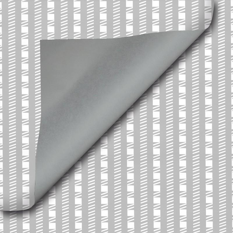 Inpakpapier - Strepen - Wit op grijs (Nr. 302) - Close-up