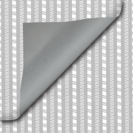 Inpakpapier - Strepen - Wit op grijs (Nr. 302)