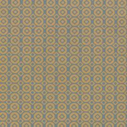 Inpakpapier - Stippen en vierkanten - Blauw op bruin kraft (Nr. 113) - Close-up