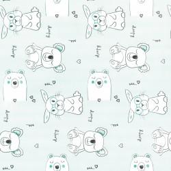 Inpakpapier - Dieren - Wit op lichtgroen (Nr. 903) - Close-up