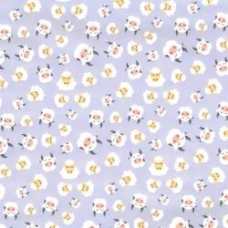 Inpakpapier - Dieren - Wit en geel op paars (Nr. 901) - Close-up