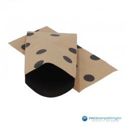 Papieren zakjes - Stippen - Zwart op bruin (Nr. 112) - Vooraanzicht