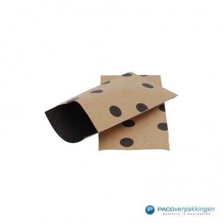 Papieren zakjes - Stippen - Zwart op bruin (Nr. 112)