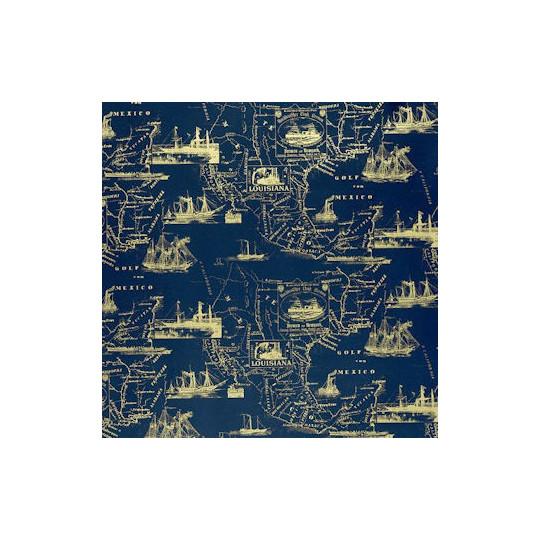 Inpakpapier - Hollands - Goud op blauw (Nr. 3034)