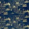 Inpakpapier - Hollands - Goud op blauw (Nr. 3034) - Close-up