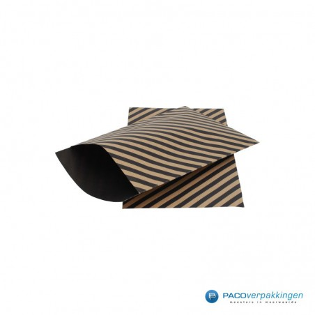 Papieren zakjes - Strepen - Zwart op bruin (Nr. 110)