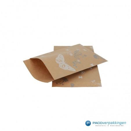 Papieren zakjes - Vlinder - Wit op bruin (Nr. 914)