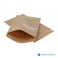 Papieren zakjes - Vlinder - Wit op bruin (Nr. 914) - Vooraanzicht
