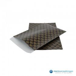Papieren zakjes - Waaiers - Goud op zwart (Nr. 510) - Zijaanzicht
