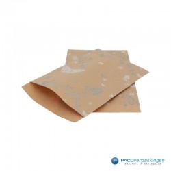 Papieren zakjes - Vlinder - Wit op bruin (Nr. 914) - Zijaanzicht