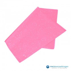 Zijdepapier - Edelsteen - Zilver op roze - Budget - Zijaanzicht