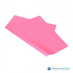 Zijdepapier - Edelsteen - Zilver op roze - Budget - Zijaanzicht voor