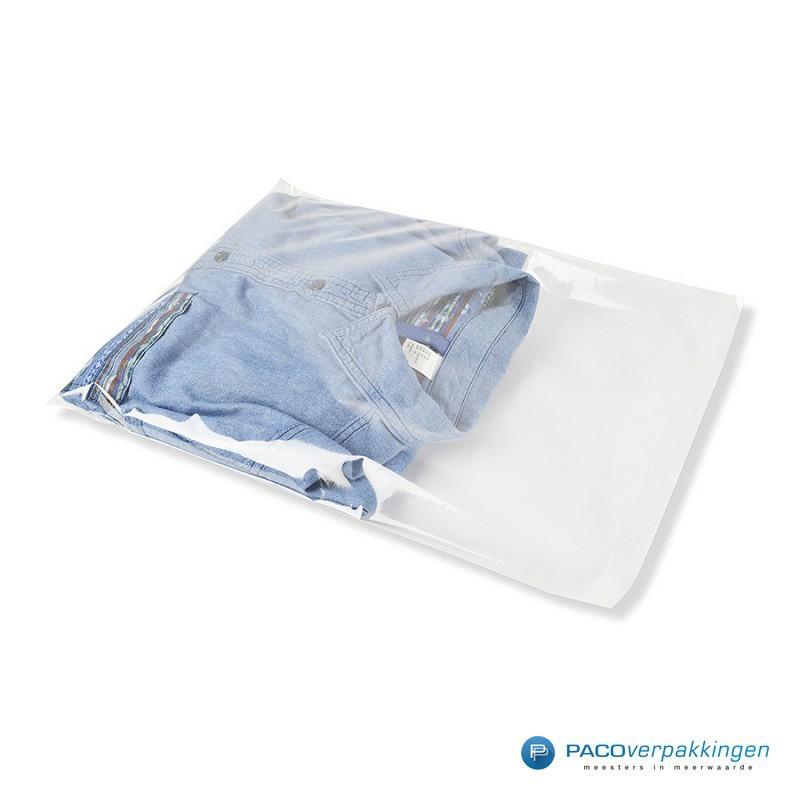 Plastic overhemdzakken - Transparant - Zijaanzicht